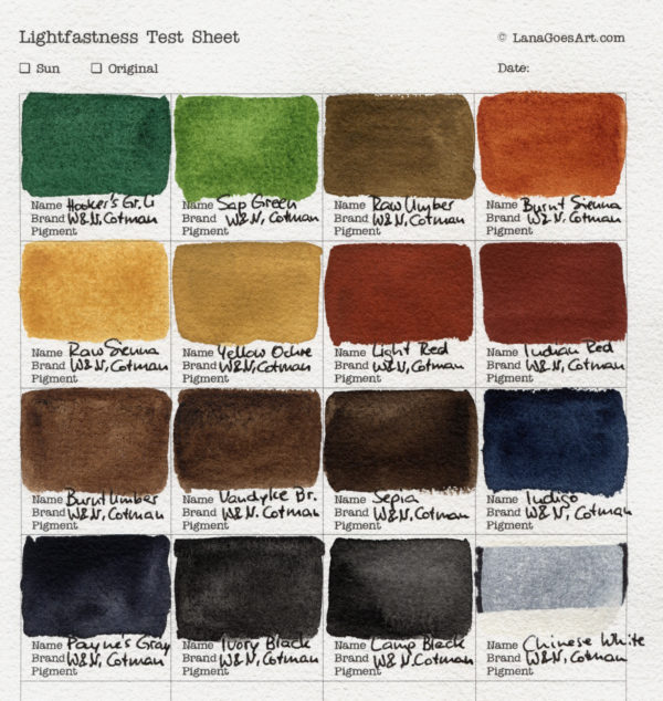 Swatch sheet